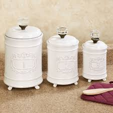 kitchen canisters and canister sets touch of class circa kitchen canisters white set of three