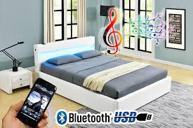 romero ottoman music storage bed led bluetooth usb leather