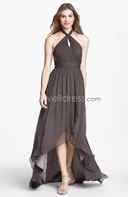 us 139 99 high low chiffon backless halter neckline bridesmaid