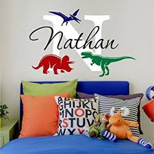 Wall Decals For Nursery Boy Nursery Boys Name And Initial Dinosaurs Personalized