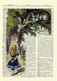 mixed media u0026 collage alice in wonderland cheshire cat dictionary