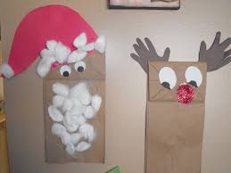 my crafty kid rudolph and santa paper bag puppets