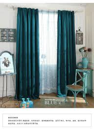 Blackout Window Curtains Pure Color Chenille Blue Thick Blackout Curtains For Living Room