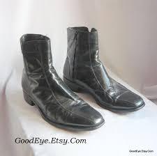 vintage florsheim mens black leather ankle boots size 10 5 d