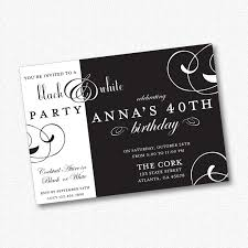 black and white birthday party invitations images wedding and