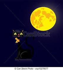 black cat and moon vector illustration of a black cat in vectors
