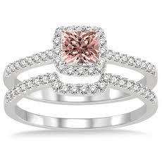 morganite bridal set 1 5 carat morganite diamond halo bridal set on 10k white gold
