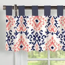 navy and coral ikat window valance tab top carousel designs