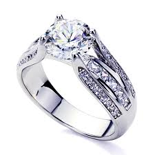 White Gold Cz Wedding Rings by Double Accent 14k White Gold Rhodium Plated Wedding Ring Round