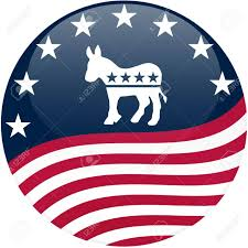 American Flag Keyboard Stickers Election Themed Round Button With 3d Effect Democrat Logo With