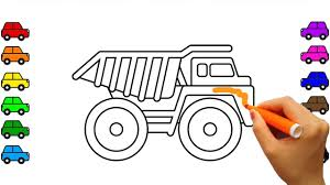 learn colors with car and construction truck coloring pages dump