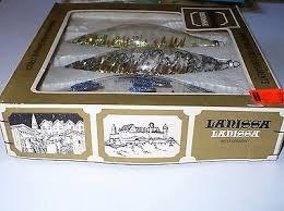 3 vintage lanissa clear glass teardrop ornaments w