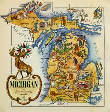 map of michigan michigan pictorial map 1946