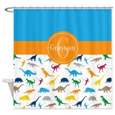 custom dinosaur shower curtain monogrammed