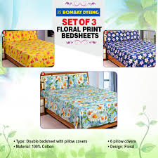 Buy Double Bed Sheets Online India Buy Bombay Dyeing Set Of 3 Floral Print Bedsheets Online At Best