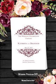 wedding programs diy templates wedding program template grace burgundy wedding programs