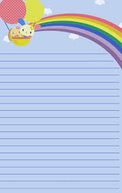 free printable rainbow stationery childrens lined stationary template pets stationery