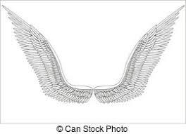 sketch open angel wings vector sketch open angel wings stock