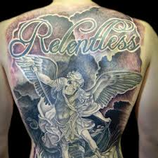 relentless u2013 black and grey archangel michael tattoo on man full back