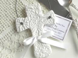 baptism christmas ornament imprinted salt dough cross ornament wedding or baptism favor