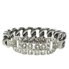 crystal chain link bracelet images Chanel silver crystal chain link bracelet tradesy jpg
