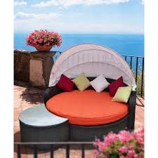 Outdoor Wicker Patio Furniture Round Canopy Bed Daybed - exterior pool gazebo with white sheer curtain combined with