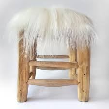 white fur stool cover fire and creme kids