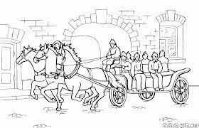 coloring page horse carriage