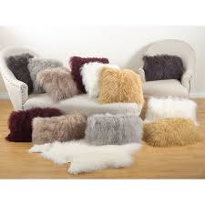 Contemporary Throw Pillows For Sofa by Styles Soft Mongolian Lamb Pillow For Inspiring Smooth Fur