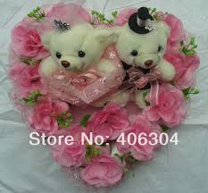 free shipping by ems pink wedding car flower decoration with bear
