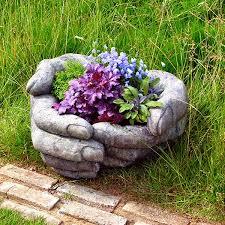cupped garden planter garden ornament