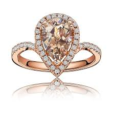 pear shaped ring morganite pear shape diamond halo ring in gold