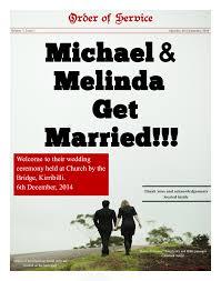 order of service wedding newspaper makemynewspaper com