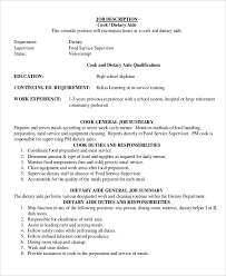Dietary Aide Resume Samples by Dietitian Job Description Dietary Aide Cook Job Description