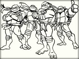cartoon ninja turtles gang coloring pages color zini