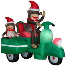 airblown sock monkeys in scooter scene large christmas yard