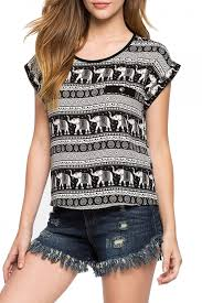 elephant blouse fashion elephant print sleeve pullover chiffon blouse
