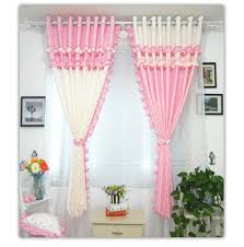 Blackout Curtains For Girls Room 2pcs Pastoral Style Curtain Lacework Pink Floral Princess Children