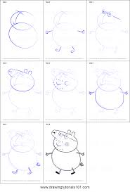 how to draw daddy pig from peppa pig printable step by step
