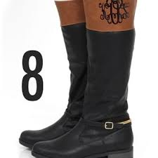 womens yard boots monogrammed black and brown colorblock from marley lilly for my