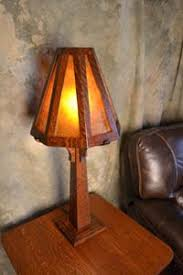 ragsdale mission oak mica and stained glass table lamps