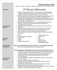 Technical Project Manager Resume Examples by Sample It Project Manager Resume 9 Examples In Word Pdf