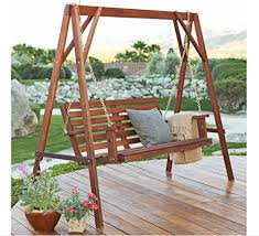 Patio Swing Frame by Free Standing Porch Swing 4 Ft Wood Porch Swing U0026 Stand Set