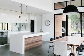 minimalist kitchen white grey black and natural wood tones
