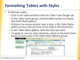 table tools design tab xp formatting tables with styles to format a table click in the