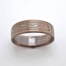 mokume gane mokume gane ring wedding band vortex pattern in oxidized