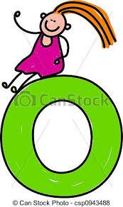 stock illustration of letter o happy little sitting on