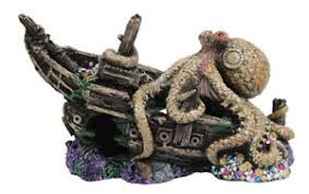 sunken pirate ship w octopus fish tank ornament aquarium
