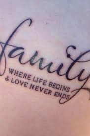 family quote tattoos where life begins love never ends f88180 jpg
