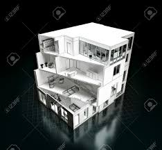 3d rendering of a house project model in a cut architecture stock